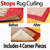 "Grips the Rug with NeverCurl Includes 4""V"" Shape Corners - Patent Pending. Instantly Flattens Rug Corners AND Stops Rug Slipping. Gripper uses Renewable Sticky Gel. By NeverCurl"