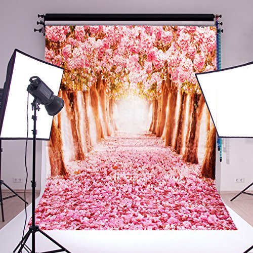 Mohoo 5x7ft Silk Photography Backdrop Cherry Blossoms