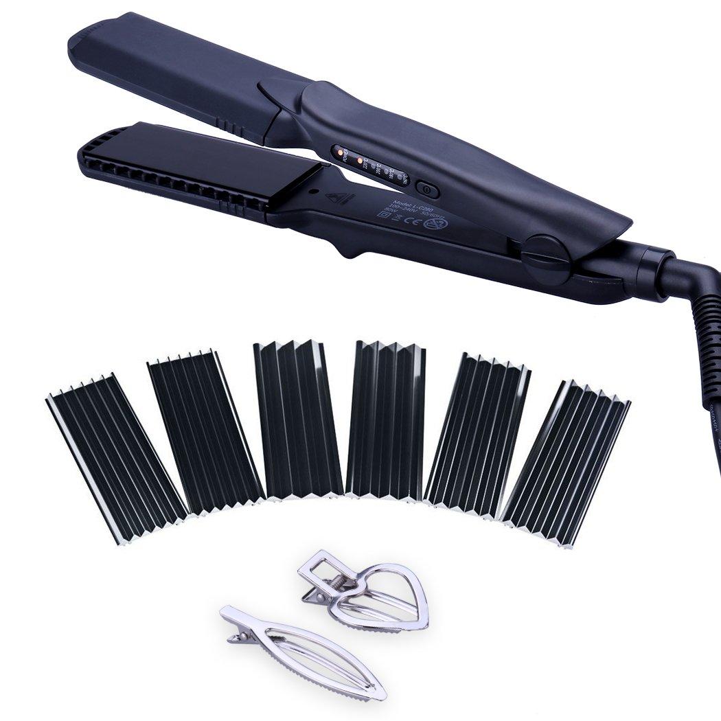 4 in 1 Hair Straightener Iron Set with Interchangeable Plates Tourmaline Ceramic Hair Crimper Wavy Iron Hair Styling Tool Set