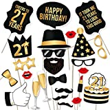 21st Birthday Photo Booth Props by PartyGraphix - Take Amazing Pictures at your Birthday's Party Selfie Station (Gold, 34)