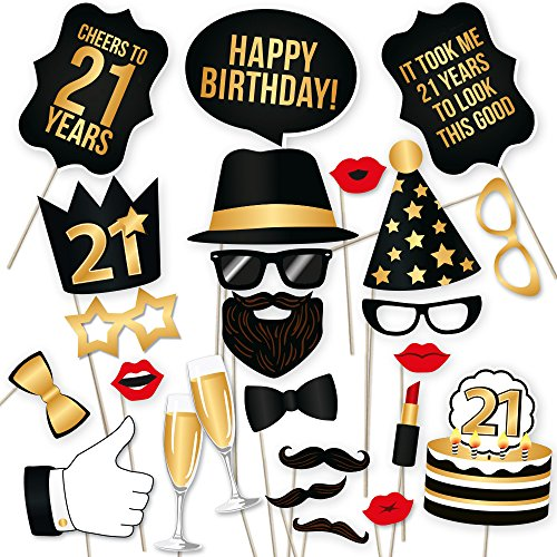 (21st Birthday Photo Booth Props by PartyGraphix - Take Amazing Pictures at your Birthday's Party Selfie Station (Gold,)