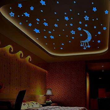 Luminous Moon Wall Sticker Glowing Stars Kids Room Bedroom Home Decor Wallpaper