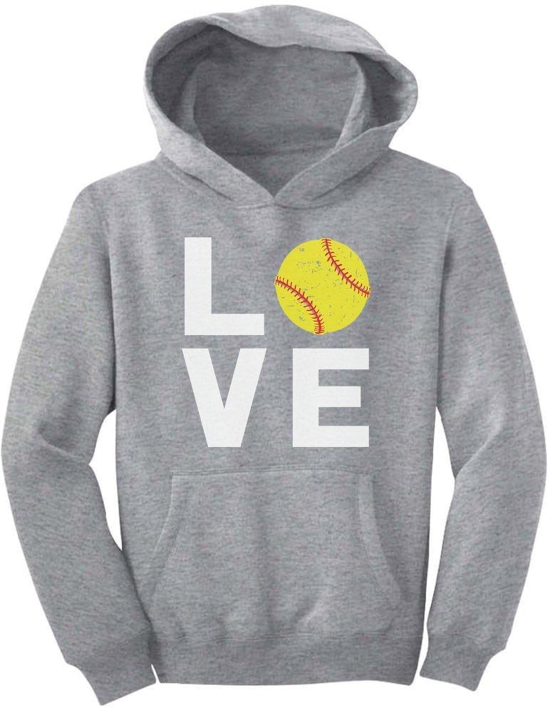 TeeStars - Love Softball - Gift for Softball Fans Youth Hoodie Medium Gray