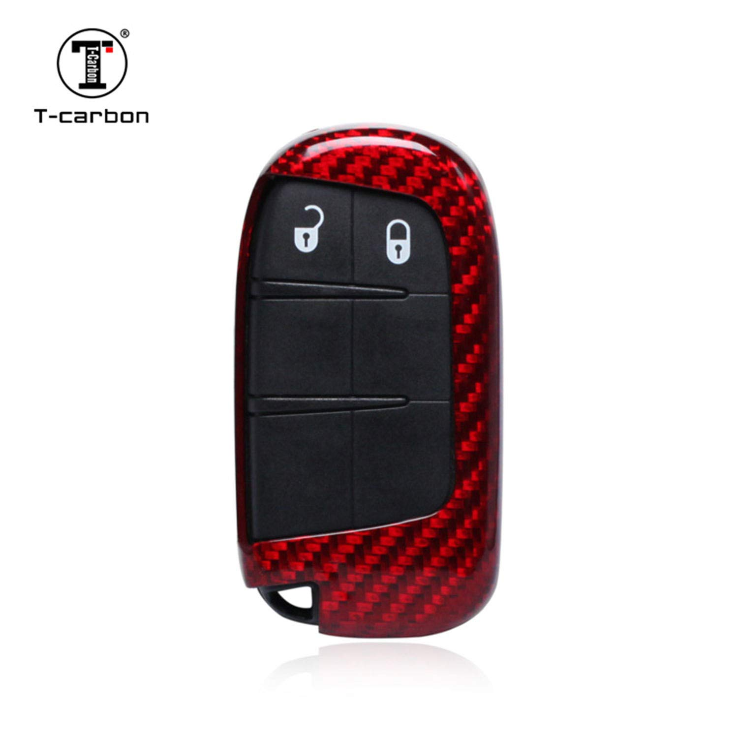Carbon Fiber Key Fob Cover For Jeep Key Fob Remote Key, Fits Jeep Compass Jeep Grand Cherokee Jeep Renegade Smart Keyless Start Stop Engine Car Key, Light Weight Glossy Key Fob Protection Case - Black MissBlue