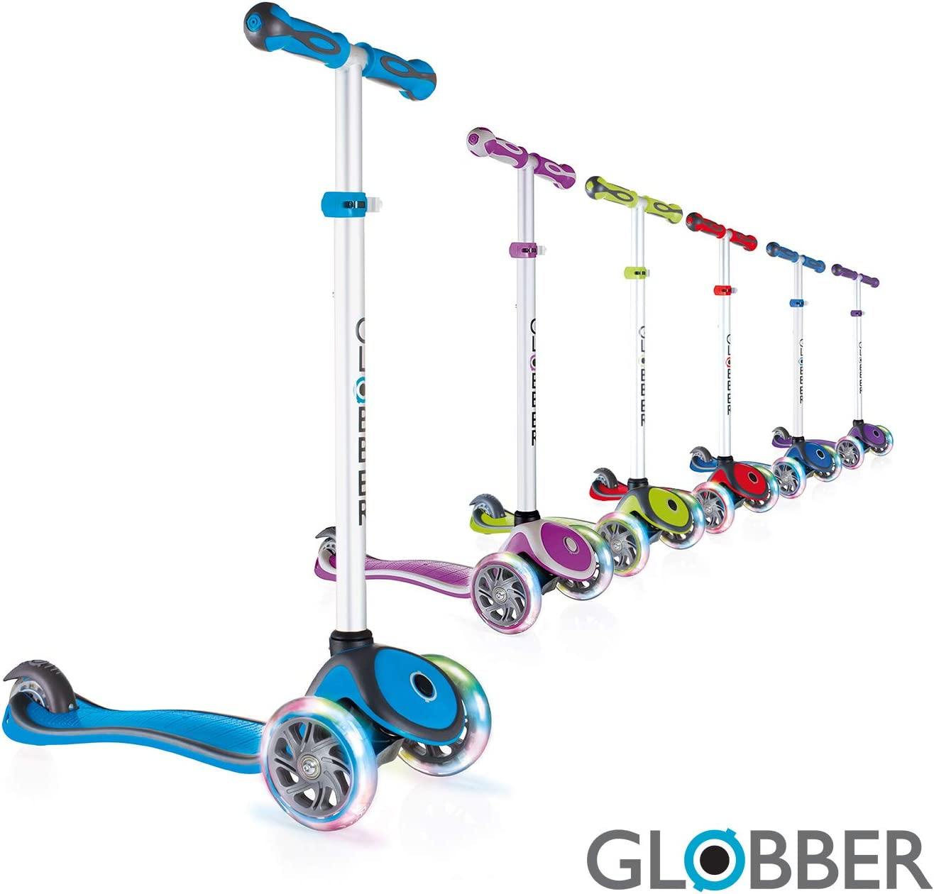 Globber V2 3-Wheel 4 Adjustable Height Scooter w Flashing Lights Zero Assembly Learn to Steer Patented Steering Lock Great for Kids Toddlers Girls or Boys Reinforced Body Supports Up to 110lbs