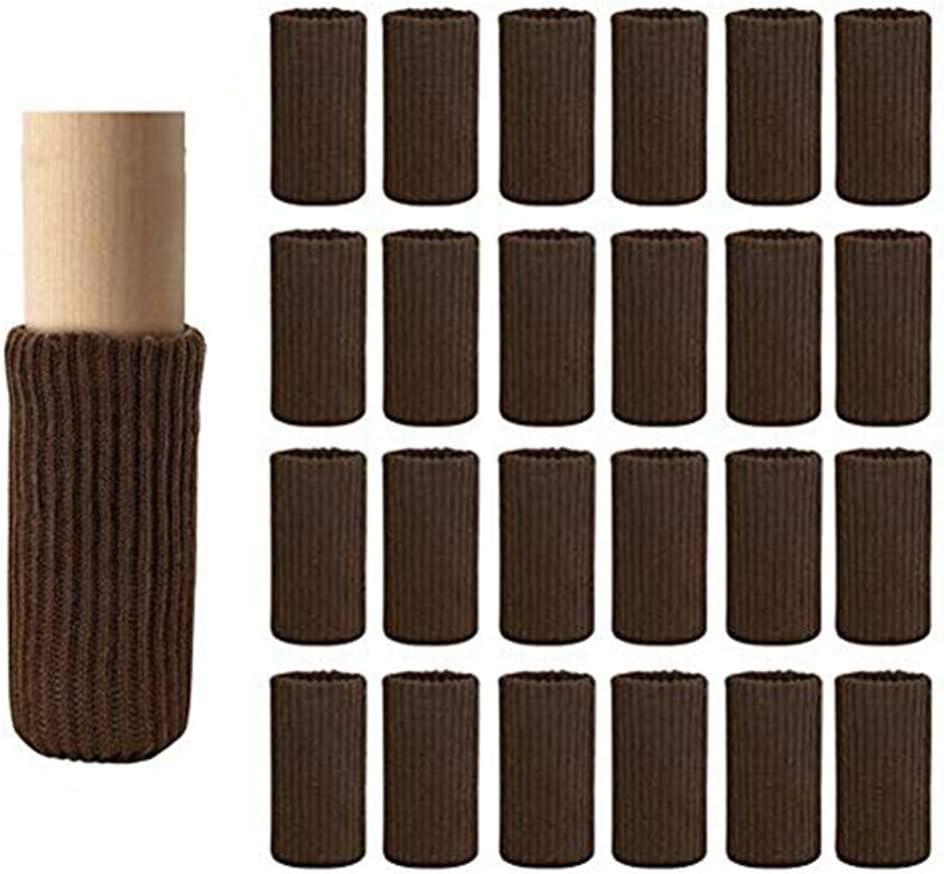 Chair Leg Socks, 24 Pcs Furniture Socks Chair Leg Floor Protectors, High Elastic Non Slip Chair Leg Feet Socks Covers, Furniture Caps Pads Set(Coffee)