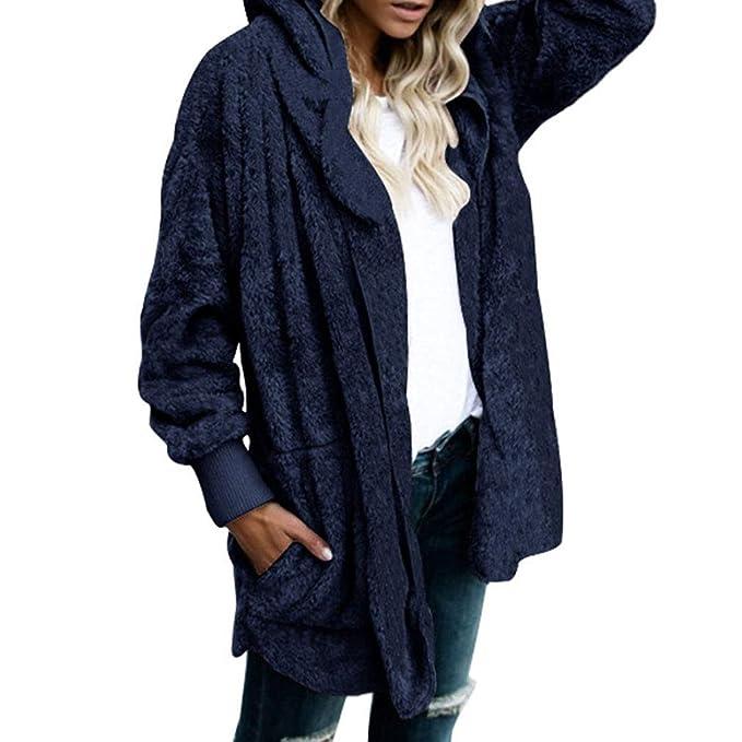 Juleya Faux Fur Teddy Bear Coat Chaqueta Moda Mujer Abrigo de Punto Abierto con Capucha Mujer