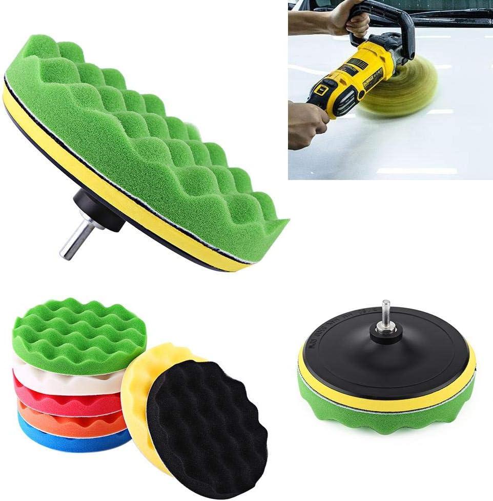 KIMISS 10Pcs 7Inch Car Polishing Pad Polishing Buffing Waxing Pad Kit Tool For Car Polisher Buffer With Drill Adapter