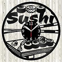 Sushi Japanese Cuisine Vinyl Record Wall Clock Decor Handmade Unique Original Gift