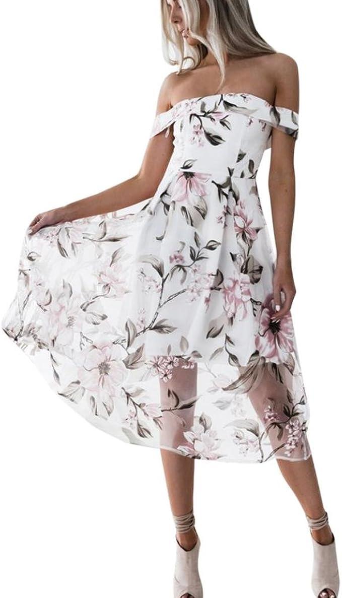 Damen Kleider, GJKK Damen Sommerkleid Schulterfrei Blumendruck