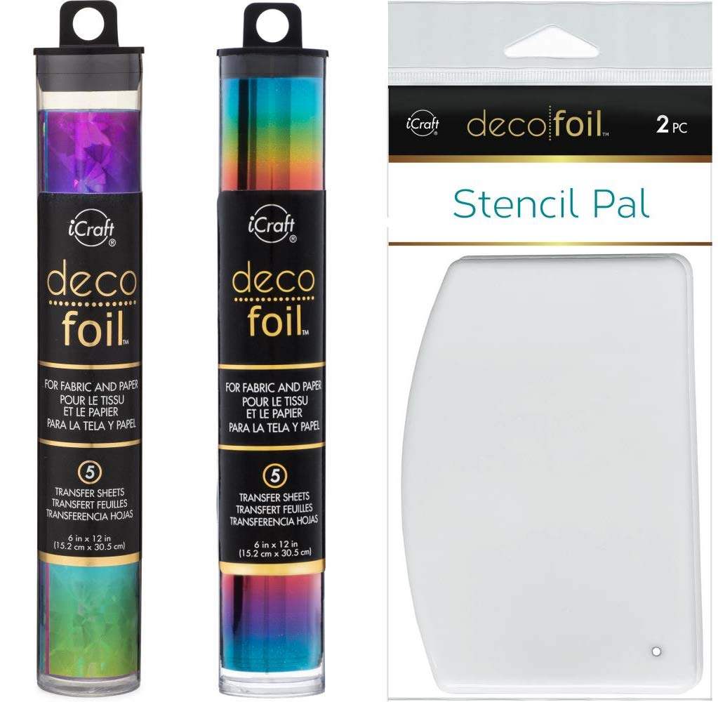 Deco Foil Double Rainbow Set - Rainbow Shattered Glass and Rainbow Specialty Transfer Sheets with Stencil Pals by Deco Foil