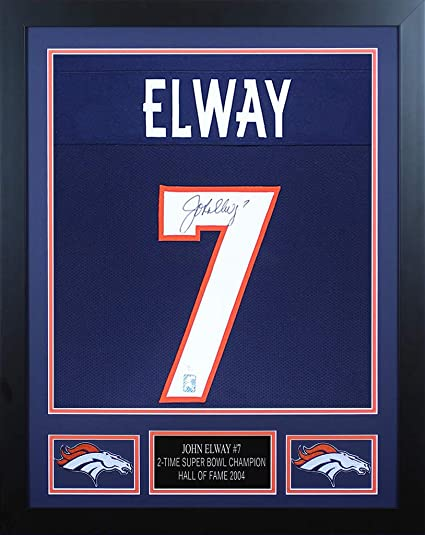the latest 20b34 74699 John Elway Autographed Blue Denver Broncos Jersey ...