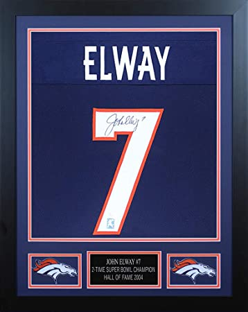 627e62007 John Elway Autographed Blue Denver Broncos Jersey - Beautifully Matted and  Framed - Hand Signed By
