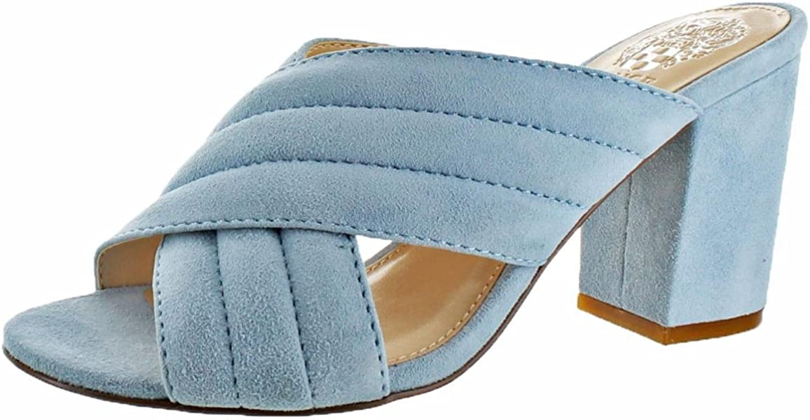 fe268ddf8ae5 Vince Camuto Bemia Women s Chambray Suede Criss Cross Heeled Sandal Size 5