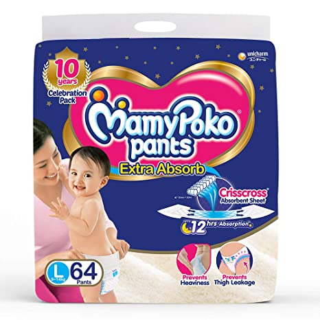 Image result for MamyPoko Pants Extra Absorb Diaper, Large (Pack of 64)