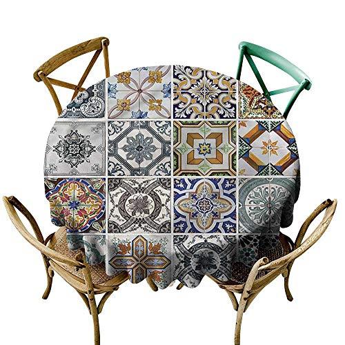 Luunins Black Round Tablecloth Antique,Patchwork Folk Art Mosaic D54,for Bistro Table