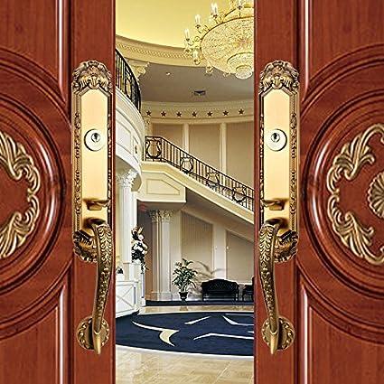 K6838 Luxurious Mortise Lock Entry Entrance Front Door Handle Lockset Double Door Gold