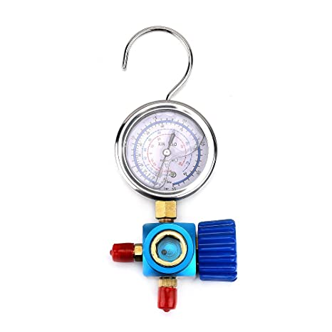 ATOPLEE 1pc Refrigerant Low Pressure Gauge for Air Conditioner R410A R22  R134A PSI KPA (Blue)