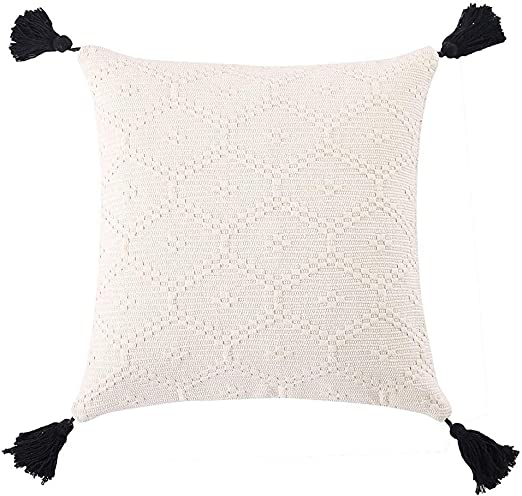 Ojia Boho Decorative Throw Pillow Cover Woven Tassels Cushion Case Minimalist Neutral Collection Accent Square Cushion Cover For Farmhouse Bed Sofa Living Room Bedroom 16 X 16 Inch Cream White Home