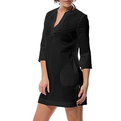 NCOEM Womens Cotton V Neck Summer Sleep Tops Thin Style Long Sleep Dress Perspective Nightwear with