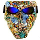 Vhccirt Protective Mask Skull/Zombie/Reaper Face Airsoft/Paintball/Motorcycle Racing Helmet Mask Halloween Spooky DecorCosplay Mask Ukiyo-e Blue Lenses