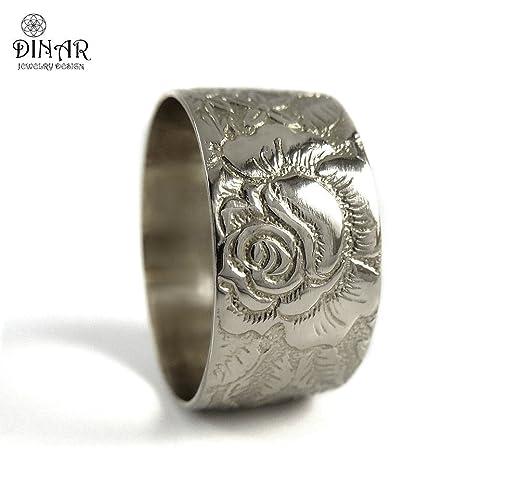 Amazon.com: Rose flower 14k white Gold wedding band ,wide Victorian ...