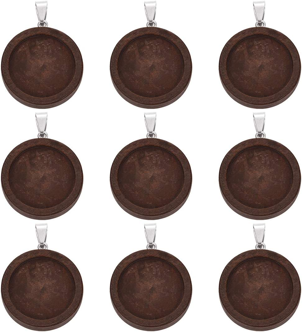 DROLE 20Pcs 30mm Wooden Blank Bezel Tray Glass Pendant Cabochon Trays Jewelry Pendant Blanks Fit 30mm 1.18inch Round Cabochons for Jewelry Making Dark Brown