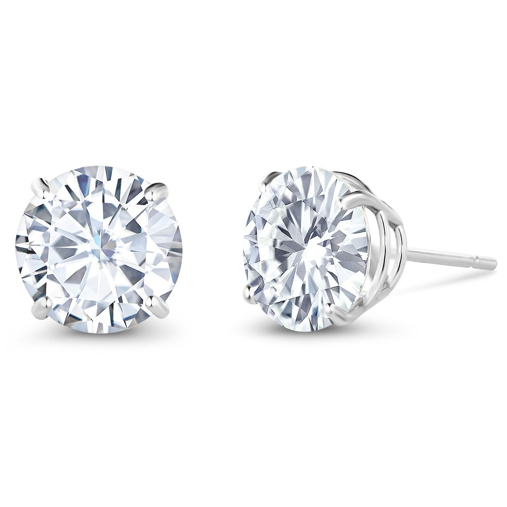 Charles & Colvard 3.00 ctw Round Moissanite Stud Earrings in 14K White Gold