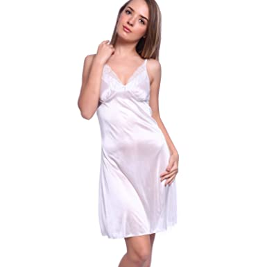 Silky Strappy Satin Lace Trim Chemise negligee Mid length Full Slip Dress  white M US 6 a1ea07148