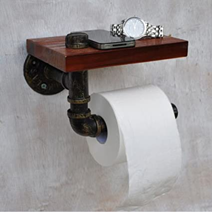 Retro rústico Industrial tubo de hierro montado en la pared papel higiénico soporte baño cocina toalla