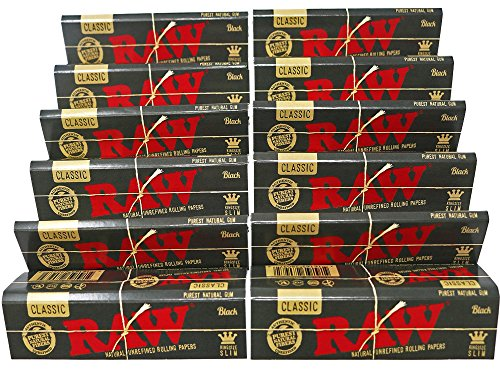 RAW Classic Black King Size Slim Natural Unrefined Ultra Thin 110mm Rolling Papers (12 Packs) (Raw Size Papers King)