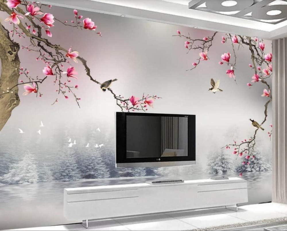 Papier Peint 3D Oiseau DOrchid/ée De Jade Chinois Papier Peint Intiss/é D/écoration Murale,150cmX105cm