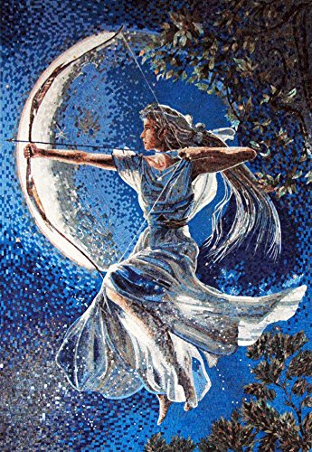 Mozaico - Goddess Diana Marble Mosaic Artwork Design MS468 by Mozaico