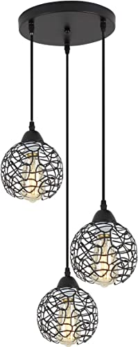 ZhLCY 3-Light Vintage Metal Globe Pendant Lights Industrial Kitchen Island Lighting Rustic Farmhouse Wire Caged Hanging Light fixture