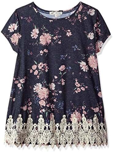Jolt Women's Knit Floral Print Ss Tee
