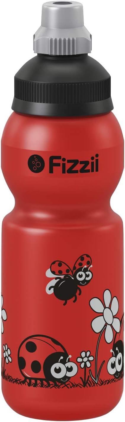 Fizzii Niños 330plástico Botella caño Seguro en carbón Acid, sin sustancias nocivas, Apto para lavavajillas, Mariquita, 330ml