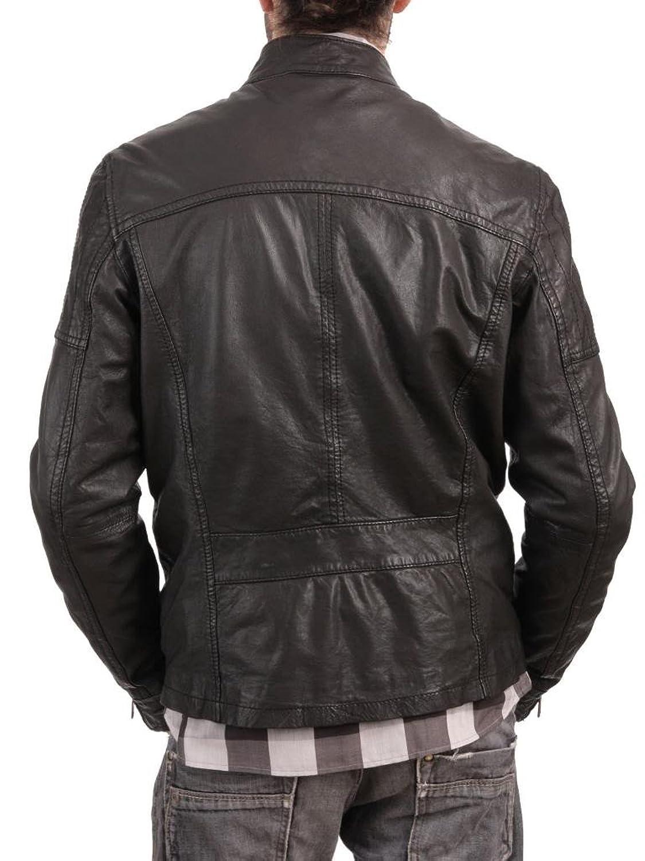 ABDys Men's Lambskin Leather jacket DKC722 Black