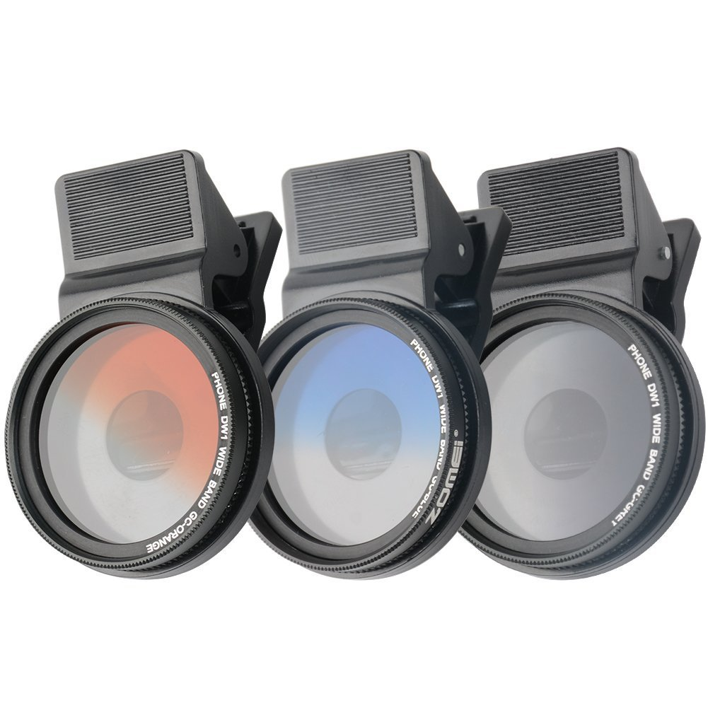 37MM Professional 3-Piece Phone Camera Lens Filter Set for iPhone Samsung Galaxy Windows & Android Smartphones (Blue/Gray / Orange) Zomei