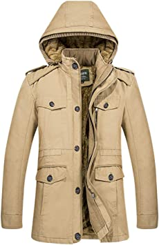 メンズジャケット、プラスサイズスタンドカラージップ長袖フード付きカジュアル秋冬の暖かいコート