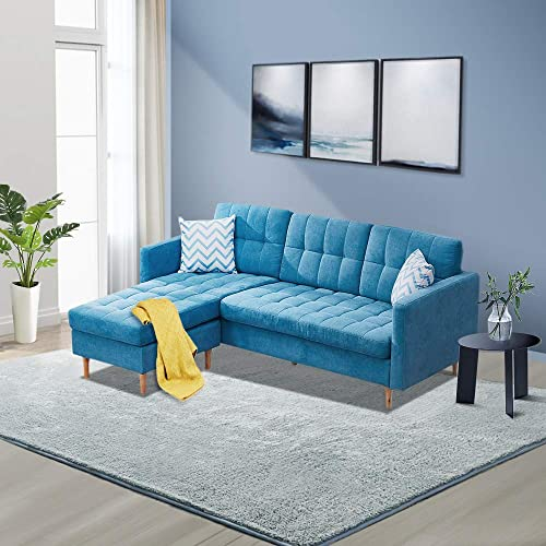 Innootechnology Convertible Sectional Sofa Bed L-Shaped Couch Linen Fabric for Small Space, Mid-Century Modern Chaise Lounge for Living Room, Light Blue