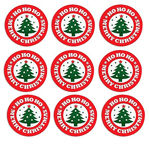 (Cakesupplyshop 50pack Ho Ho Ho Merry Christmas Tree Holiday Stickers/Envelope Seals)
