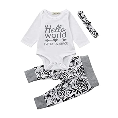 c6639195c Amazon.com: Fyhuzp Baby Clothes Set, Newborn Baby Boy Girl Xmas Newyear Costume  Outfits Long Sleeve Romper Bodysuit +Pants+Hat+Headband: Clothing