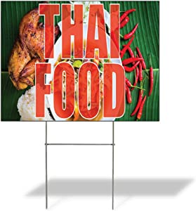 Weatherproof Yard Sign Thai Food Outdoor Advertising Printing E Red Lawn Garden International Cuisines 24x18 Inches 1 Side Print