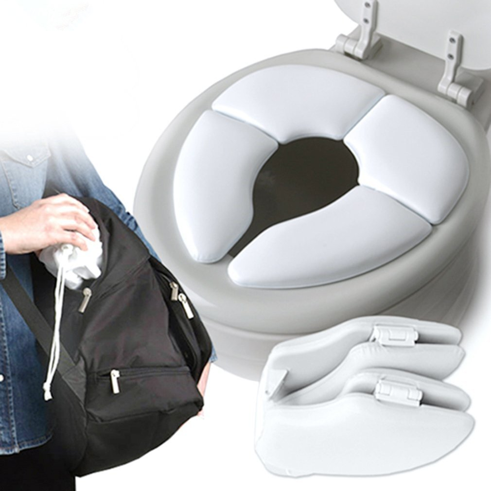 Portable Folding Child Toilet Seat Potty Chair Pad Cushion Baby Training Toilet Children Safe Hygiene White AIBER