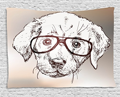 Modern Tapestry, Cute Hipster Puppy with Glasses Smart Dog Nerd