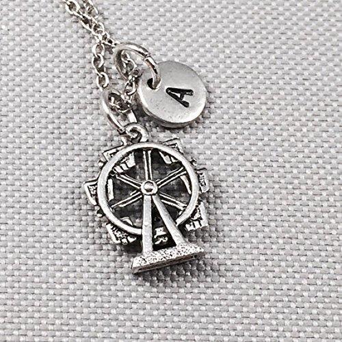 (Ferris wheel necklace, Ferris wheel charm, big wheel, amusement park rides, personalize necklace, initial charm, monogram)