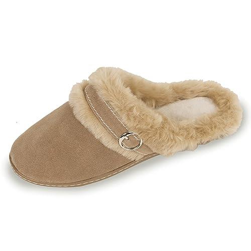 Zapatillas MUJER Chinelas - cuero terciopelo - suela ergonómic Isotoner 39: Amazon.es: Zapatos y complementos