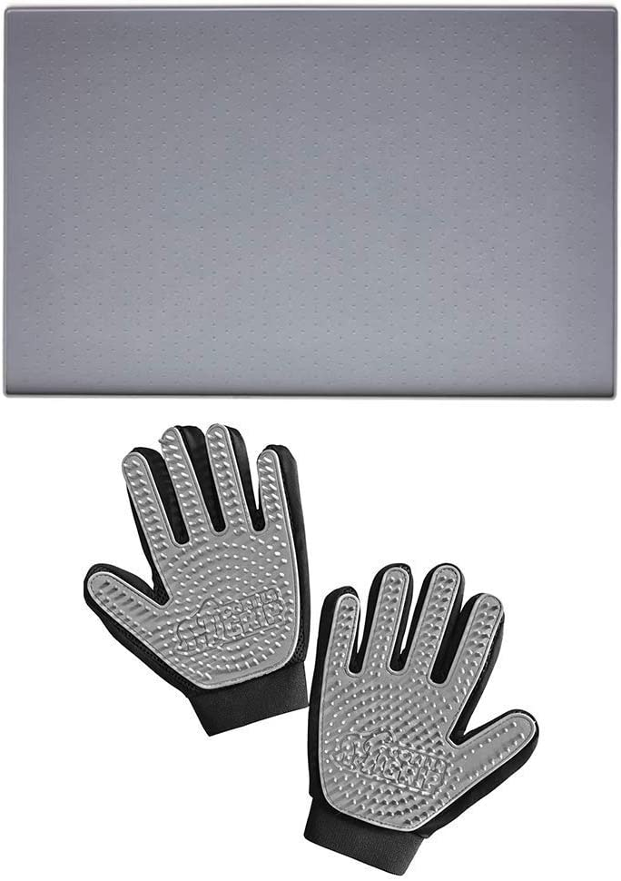Gorilla Grip Pet Feeding Placemat and Pet Grooming Gloves, Both in Gray Color, Feeding Mat is Size 23x15, Great for Messes from Pets, Gloves Remove Shedding Fur, 2 Item Bundle