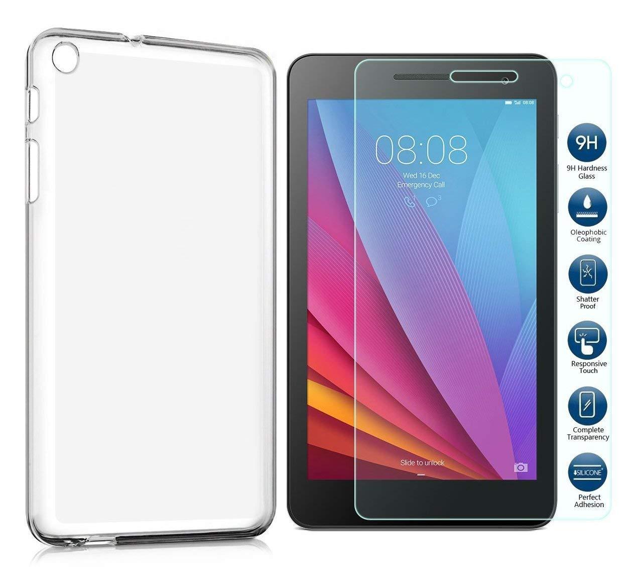 Pack 2 en 1 Housse de Protection en Silicone TPU Transparent + Protecteur d/écran 9H pour Huawei MediaPad T1 10.0 Domxteck