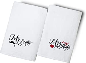Mr Mrs Bath Towels Set of 2 - Luxury Cotton Fluffy Bathroom Spa Hotel Quality, Wedding,Engagement,Anniversary,Valentine,Couples Towels Sets,Gift